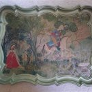 Mid-Century Ornate Serving Tray with Hindu Scene-Hunter Horseman & Lady in Traditional Sari-RARE!