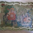Mid-Century Ornate Serving Tray with Hindu Scene - Elephant Howdah passing Lover's in Woods - RARE!