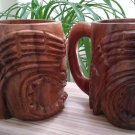 Carved Arcadia Wood Tiki Mug Set of 2 - 12 oz. - Polynesian/Hawiian Decor