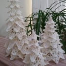 Vintage Crochet Christmas Trees - Set of 3 - Dainty, Delicate, 'Victorian' decorations!
