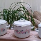 Vintage Set of 3 Small Graduated Enamel Cooking Pots - Made in Indonesia - UNUSUAL!