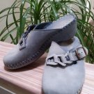 La Plume Whipstitch Powder Blue Suede Platform Mules - Size EUR 36 US 5.5 - Made in Italy!