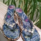 Beverly Feldman 'Too Much Is Not Enough' Rhinestone Thong Sandals Kitten Heels - Size EUR 38 US 7.5!