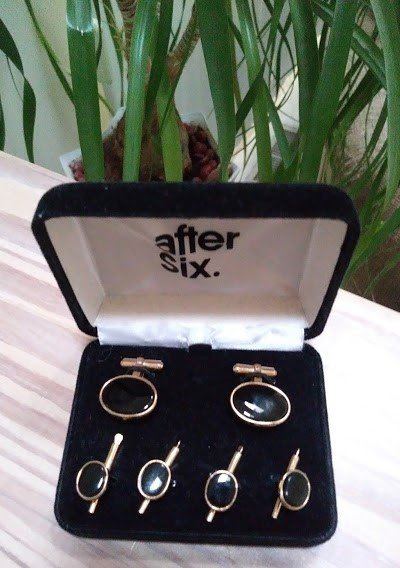 Vintage After Six 6 Piece Tuxedo Shirt Button Set - Black in Goldtone Settings!