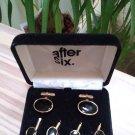 Vintage After Six 6 Piece Tuxedo Shirt Button Set - Black in Goldtone Settings!