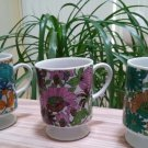 Vintage Retro Floral Pedestal Coffee Mugs Footed Blue Pink Green - Set of 3!