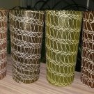Shat-R-Pruf Color Craft Mid-Century Spaghetti String Swirl Tall Tumblers Drinking Glasses - ICONIC!