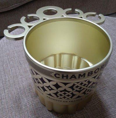 CHAMBORD 'PRODUIT DE FRANCE'  Gold and Black VERY LARGE - 10 QUART Ice Bucket - UNIQUE & RARE!