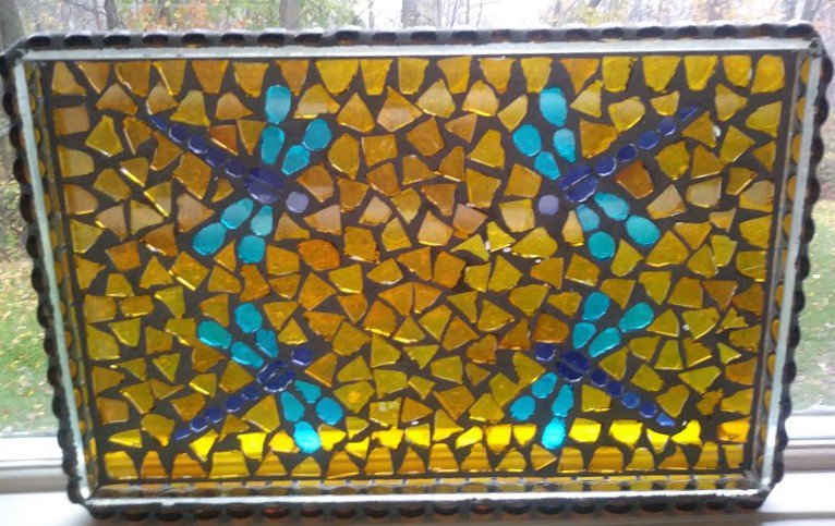 Vintage Stained Glass Mosaic Dragonfly Serving Tray - Unique & Useful Work of Art!