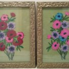 ANTIQUE Framed Under Glass Crewel Needlework Embroidery Florals - BOLD VIBRANT COLORS!