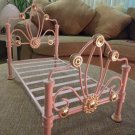 """American Girl Doll 'Rebecca' Pink Metal Scrollwork Bed for 18"""" Dolls or Pampered Pet!"""