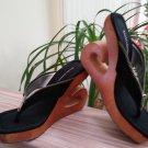 Vintage 'Delicious' Women's Blk Suede Zipper Platform Thong Shoes-Sz 7-1980's-SEXY!