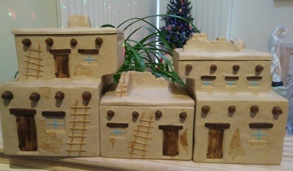 Native American Navajo Pueblo Southwestern New Mexico House Casita Ceramic Pottery Canisters!