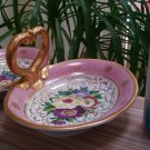 Vintage Double Sided Hand Painted Oval Candy Dish with Gold Gilt & Heart Shaped Handle