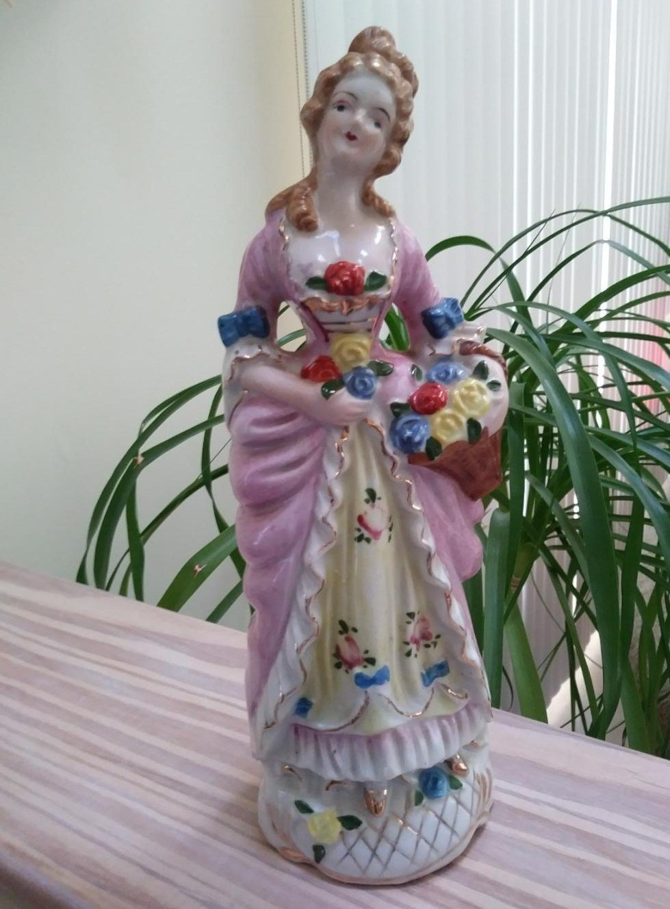 "Victorian Lady with Basket Ceramic Figurine Japan 1930s-40s 11""H Pink Dress"