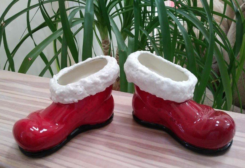 Vintage Ceramic Santa Boot Taper Candle Holder Set - Handmade