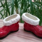 Vintage Ceramic Santa Boot Taper Candle Holder Set - Handmade