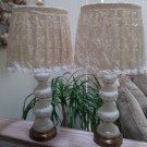 Vintage Off White Satin Glass Boudoir Lamps with Raised Design & Eyelet Lace Shades!