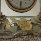 Vintage Sessions Wall Clock-Hollywood Regency Painted Glass & Mirrors - WORKS!