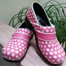 Sanita Clogs Professional Dottie Patent Leather Pink Polka Dot #346606 - Size 41!