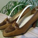 Vintage GUCCI Taupe Leather & Snakeskin Trim Shoes Pumps - Size 38 - 100% AUTHENTIC!