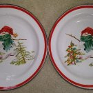 Vintage Hallmark Enamel Christmas Jan Karon's Mitford Series Snowman Bowls - Set of 2!
