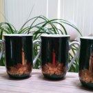 Vintage Otagiri Coffee Mug Green Christmas Holiday Candle Gold Trim - Set of 4!