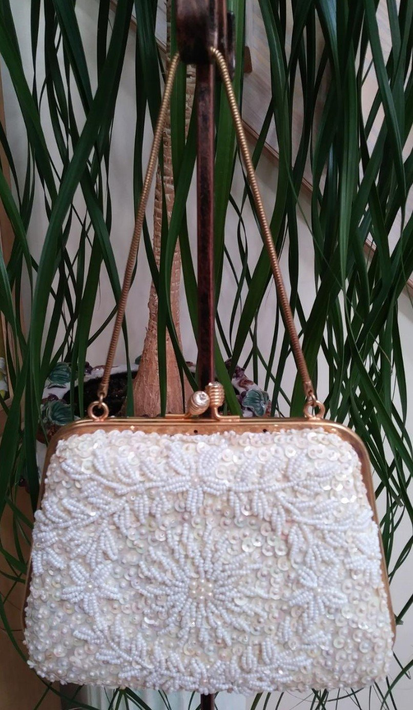 Vintage Ivory Beaded & Sequined Evening Bag from the 1950's - Made in Hong Kong!