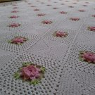 Vintage Crochet Bedspread Blanket Cover White Pink Flowers Hand Made Full Bed!
