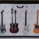 "Guitar Heaven Legends of Rock Guitars - SLASH, HENDRIX Wall Decor -36"" x 12"" -Wood Base Lamination!"