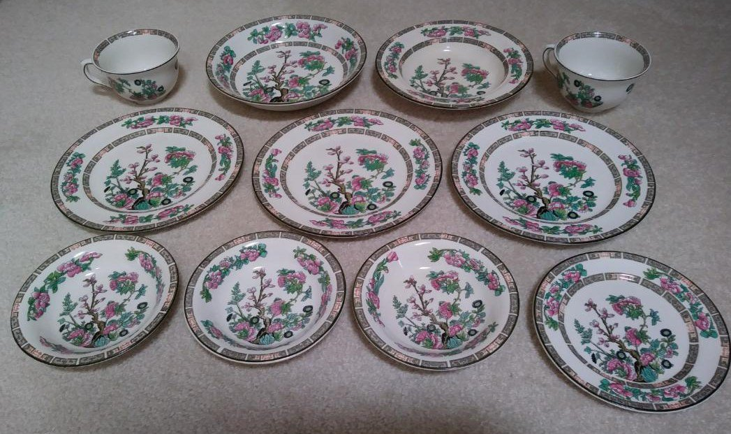 Antique Indian Tree China by Maddock, John & Sons LTD - Lot of 11 pieces - Circa 1896!