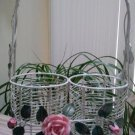 Wire Form & Ceramic 2 Bottle Wine Carrier Tote, Gift Wrap - Pretty Pink Roses!