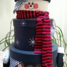Festive Snowman Stacking Boxes with Scarf, Mittens & Gingham Fabric - 3 tier stacking boxes!