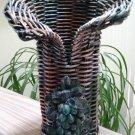 Wicker Wine Holder - Open Fan Design, Variegated Color - Purple, Blue, Copper, Silver - Unique!