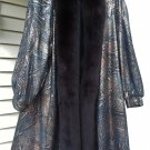 Black and Bronze Leather Swing Coat with Fox Trim - Plus Size 22W - GORGEOUS & VERY ROOMY!!