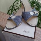 Coach Ashleigh Signature Canvas Monogram Slip On Shoes in Blue/White with Kitten Heels - Size 10!