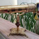 "Vintage Brass Kaleidoscope & Stand w/ Stained Glass JEWELED Double Wheel 11½"" W"