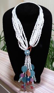 Vintage Multi Strand White Glass Bead Necklace with Pastel Dangle Accents!