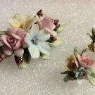 Vintage Capodimonte Floral Bouquet Porcelain Pin/Brooch & Clip On Earring Set - New in Box!