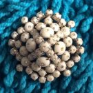 Vintage White and Rhinestone Dome Shape Brooch Pin!