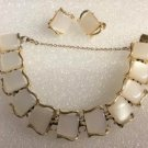 Vintage CORO White Moonglow Lucite Thermoset Panel Bracelet and Earrings Set - 1950's!