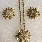 Vintage Monet Pave Rhinestone Sun Pin/Brooch Necklace & Earring Set!