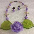 Romantic Style Purple & Chartreuse Lucite Floral Necklace & Pierced Earrings Set