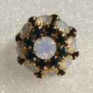Mid Century Rhinestone Cluster Embroidered Stretch Band Ring - 1950's!