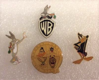 Looney Tunes Booster Lapel Pins - Lot of  4 - ALL STARS, WB BUGS BUNNY, BUGS BUNNY & DAFFY DUCK!
