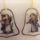 M. I. HUMMEL GLASS CHRISTMAS ORANAMENTS -SET of 2 -INTERNATIONL COLLECTOR'S CLUB w/ PAPERWORK-RARE!