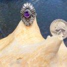 Vintage Ornate Sterling Silver Amethyst & Marcasite 925 Sterling Silver Ring - Size 5