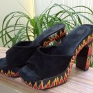 Vintage Flame Painted Wood Platform Suede Slide-On Shoes - Size 39 - Made in Indonesia
