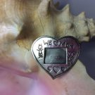 Vintage 'We Love Mom' Sterling Silver Picture Frame Pin Brooch - Stick Figure Drawing!