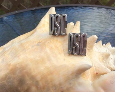 Vintage 'DSC' Block Monogram Sterling Silver Cufflinks - SOLID & HEAVY!
